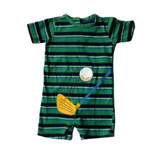 Green Stripe Golf Short Romper 24 Months 2T Boy